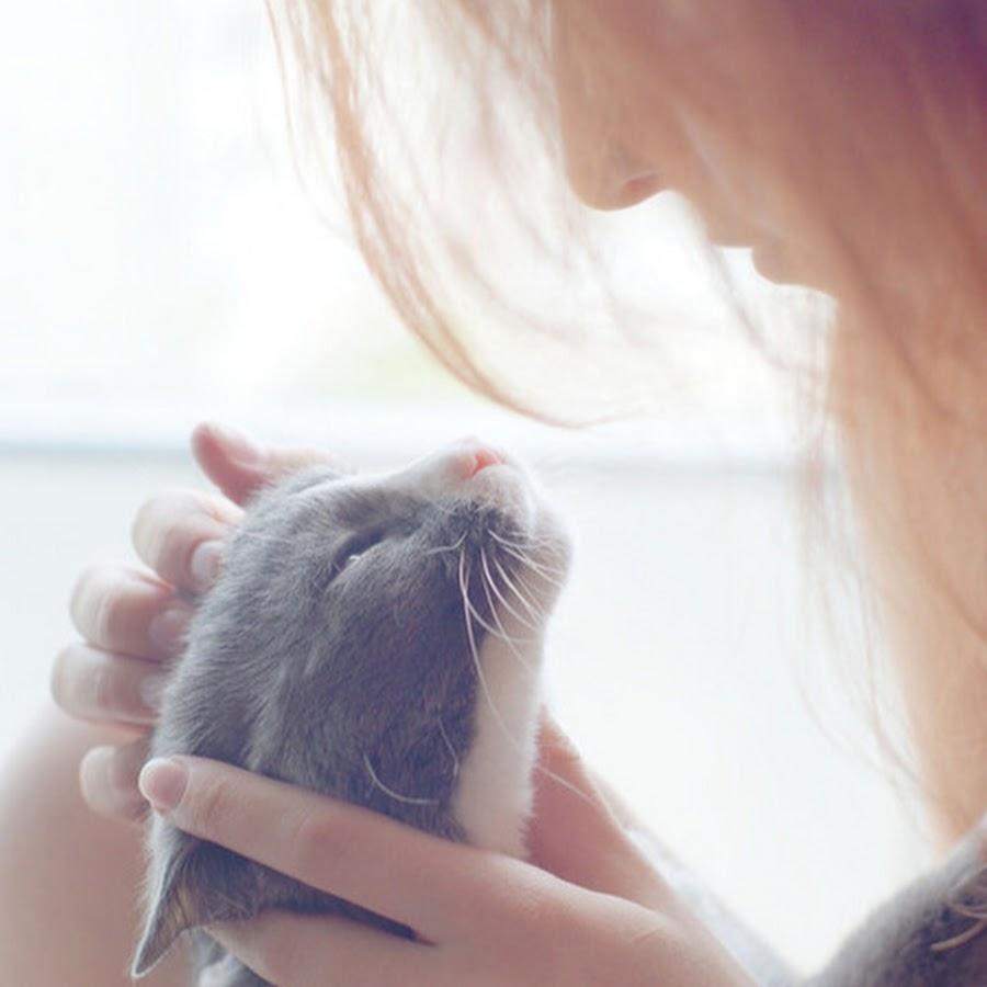 Фото без лица девушки с кошкой на аву