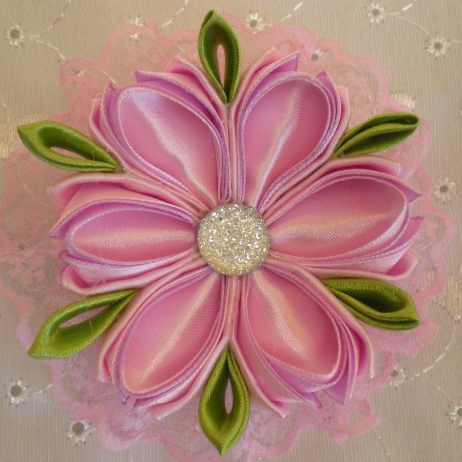 Красивые цветы из лент мастер класс