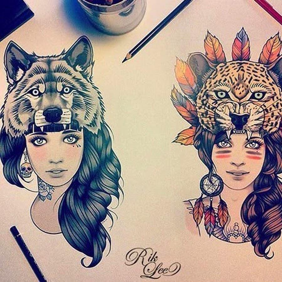 Рисованные девушки в маске 9 фотография