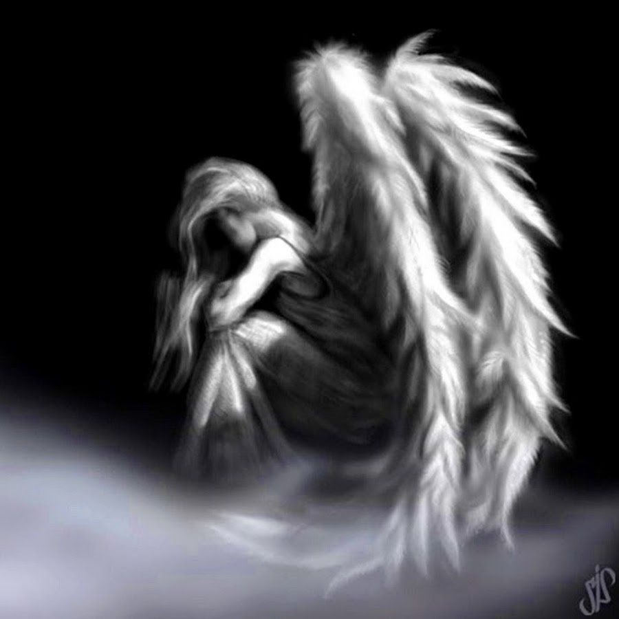 грустные картинки черно белые ангелы