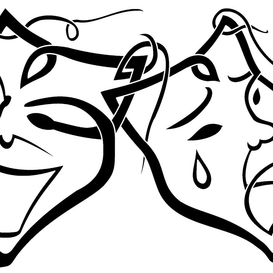 театральные маски черно белые картинки на прозрачном фоне этого момента