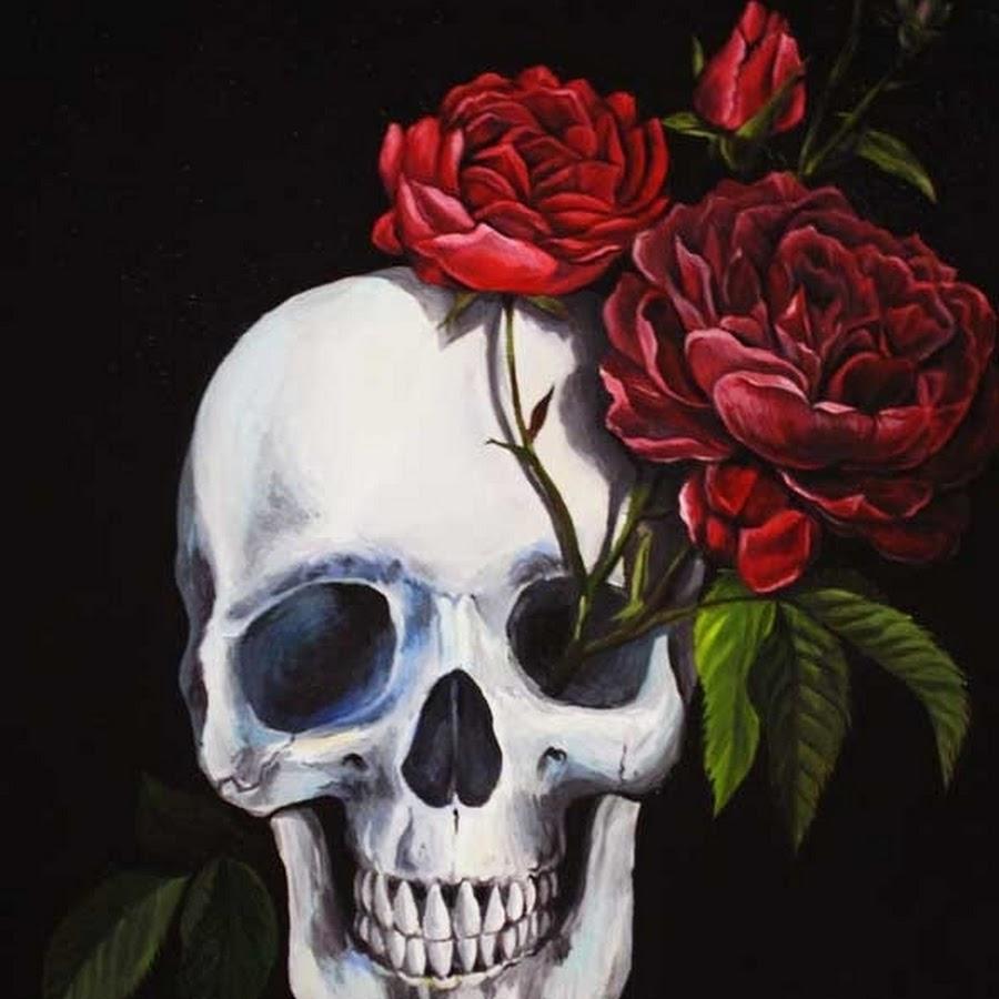 картинки с черепами с цветами категорию