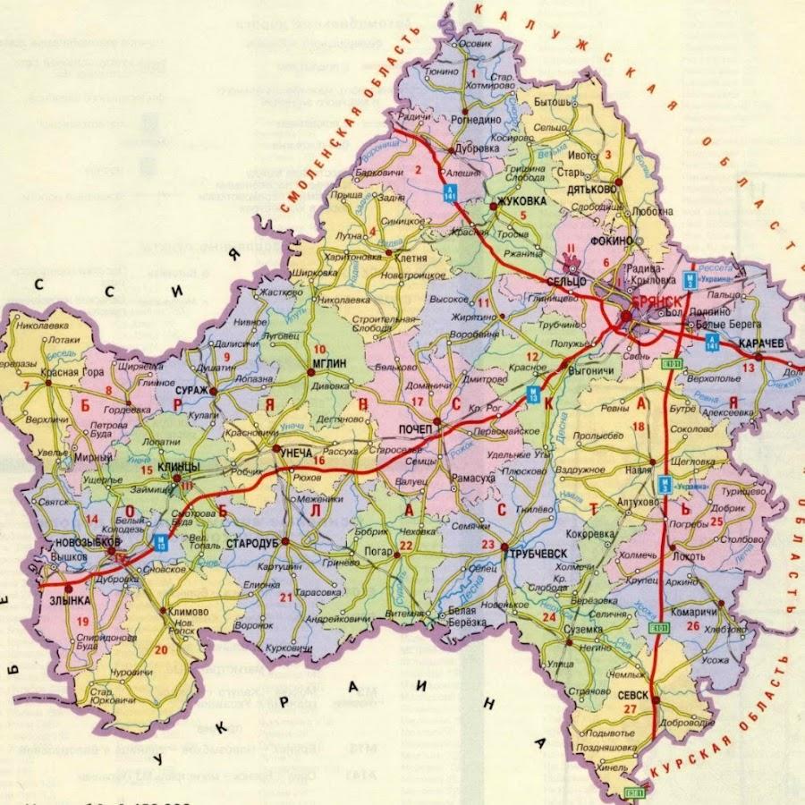 карта с фото брянской области только