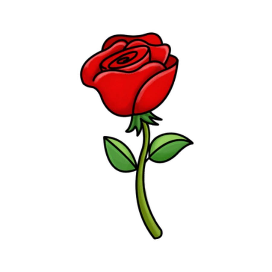 Роза рисунок для детей, открытка для
