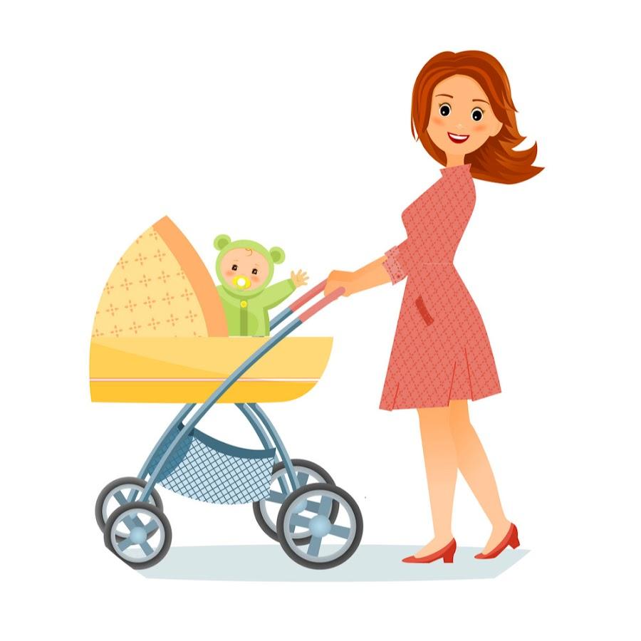 Картинки мама с коляской рисунок