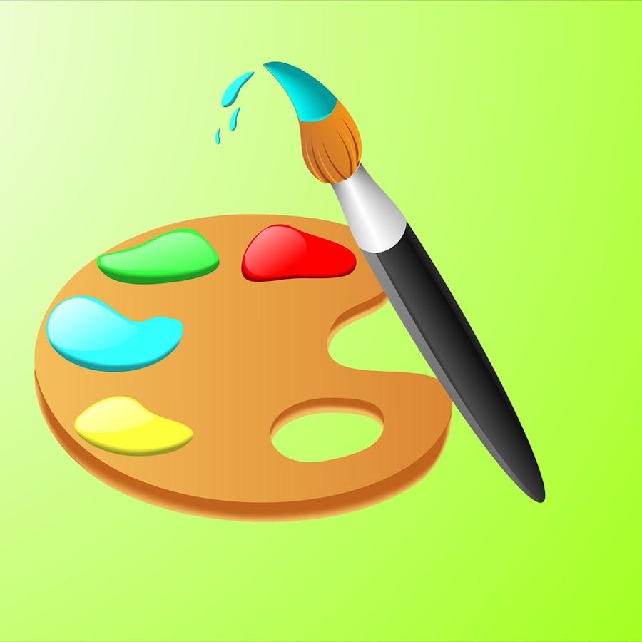Картинка палитра с красками для детей, подруга