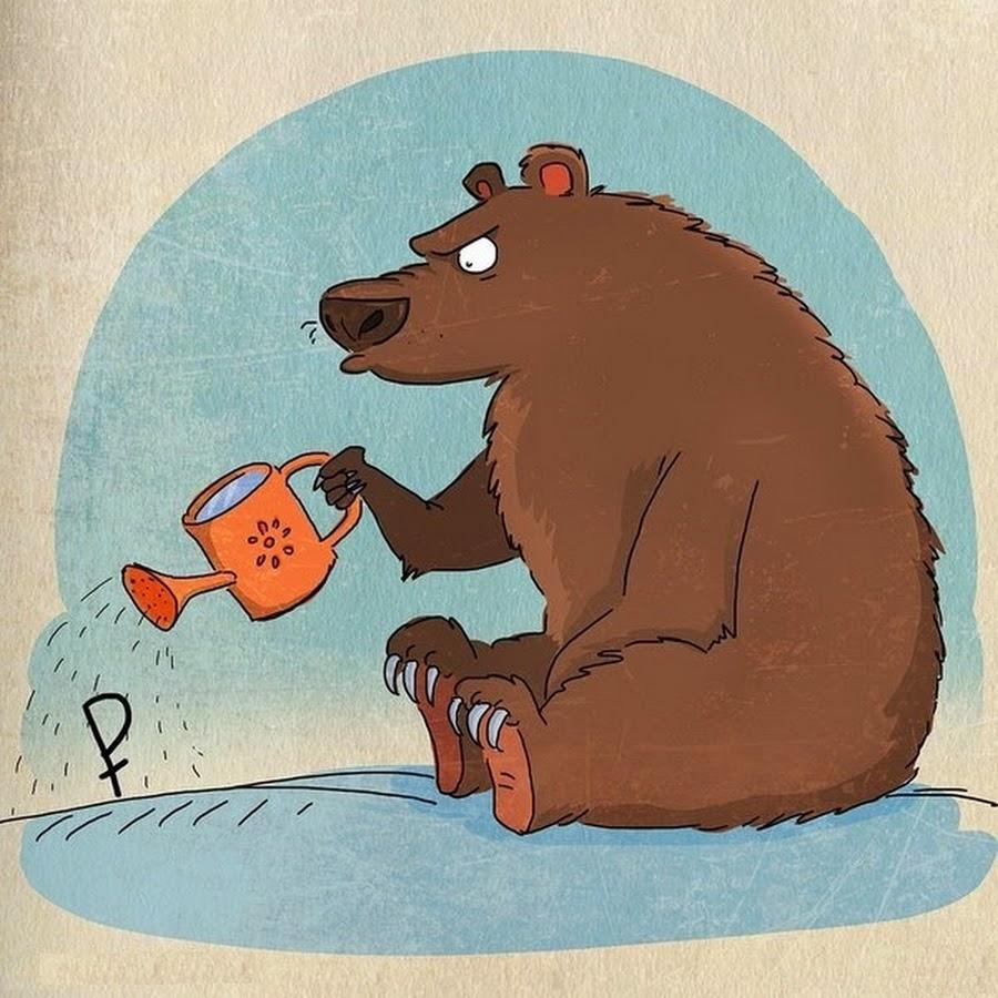 Рисунок медведь прикольный